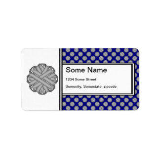 Gray / Grey Flower Ribbon Label