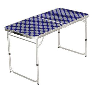 Gray / Grey Flower Ribbon Pong Table