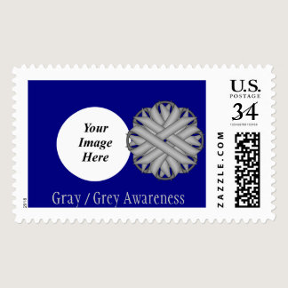 Gray / Grey Flower Ribbon Postage