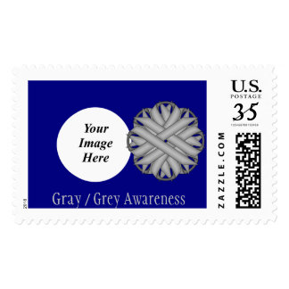 Gray / Grey Flower Ribbon Postage Stamp