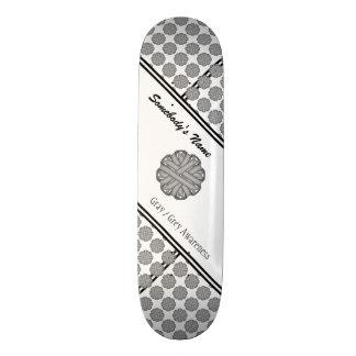 Gray / Grey Flower Ribbon Skateboard