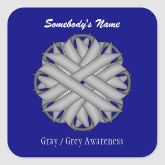Gray / Grey Flower Ribbon Square Sticker