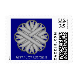 Gray / Grey Flower Ribbon Stamps