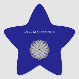 Gray / Grey Flower Ribbon Star Sticker