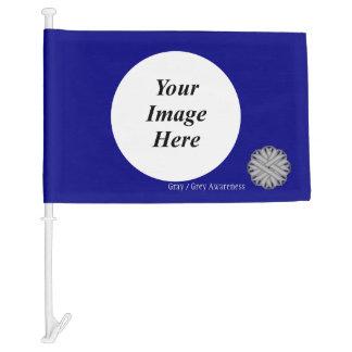 Gray / Grey Flower Ribbon Template Car Flag