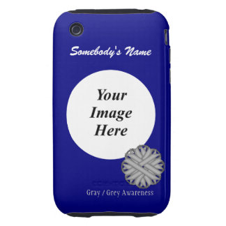 Gray / Grey Flower Ribbon Template iPhone 3 Tough Covers