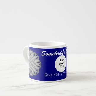 Gray / Grey Flower Ribbon Template Espresso Cup
