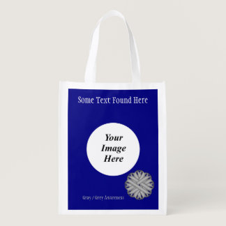 Gray / Grey Flower Ribbon Template Grocery Bag