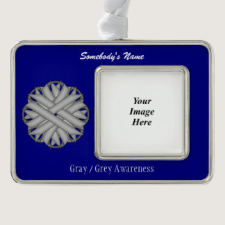 Gray / Grey Flower Ribbon Template (H-O) Christmas Ornament