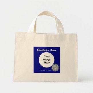 Gray / Grey Flower Ribbon Template Mini Tote Bag