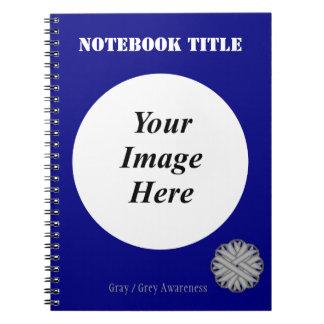 Gray / Grey Flower Ribbon Template Notebook