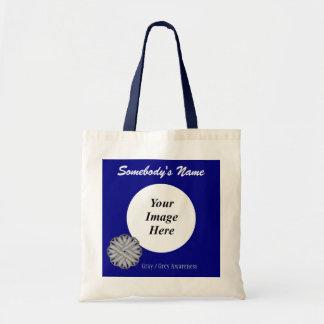 Gray / Grey Flower Ribbon Template Tote Bag