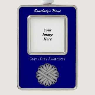 Gray / Grey Flower Ribbon Template (V-O) Silver Plated Framed Ornament