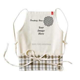 Gray / Grey Flower Ribbon Template Zazzle HEART Apron