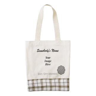 Gray / Grey Flower Ribbon Template Zazzle HEART Tote Bag