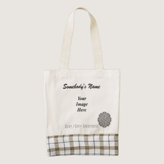 Gray / Grey Flower Ribbon Template Zazzle HEART Tote Bag
