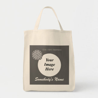 Gray / Grey Flower Ribbon Tmpl by Kenneth Yoncich Tote Bag