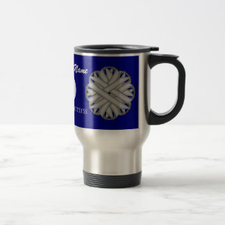 Gray / Grey Flower Ribbon Tmpl by Kenneth Yoncich Travel Mug