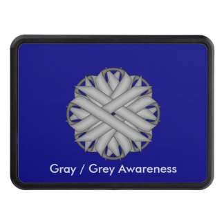 Gray / Grey Flower Ribbon Trailer Hitch Cover
