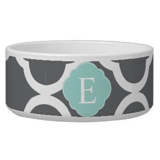 Gray Grey Mint Quatrefoil Monogram Bowl