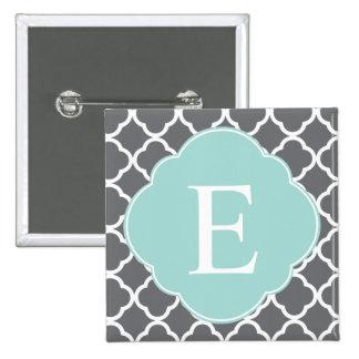 Gray Grey Mint Quatrefoil Monogram Pin