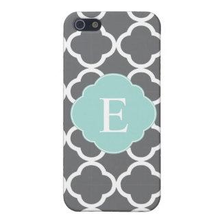 Gray Grey Mint Quatrefoil Monogram Cover For iPhone SE/5/5s
