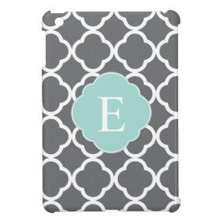 Gray Grey Mint Quatrefoil Monogram iPad Mini Covers
