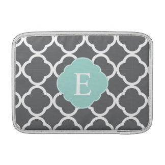 Gray Grey Mint Quatrefoil Monogram MacBook Air Sleeves