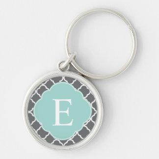 Gray Grey Mint Quatrefoil Monogram Key Chain
