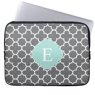 Gray Grey Mint Quatrefoil Monogram Laptop Sleeve