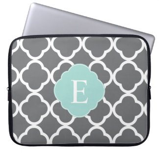 Gray Grey Mint Quatrefoil Monogram Laptop Computer Sleeve