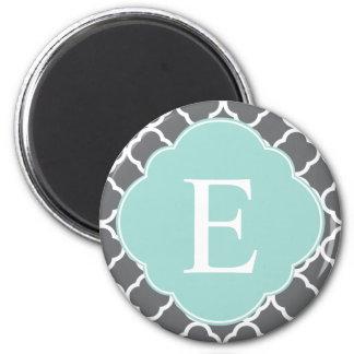 Gray Grey Mint Quatrefoil Monogram Magnet
