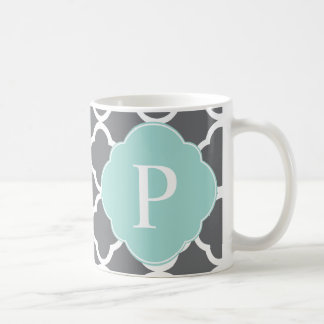 Gray Grey Mint Quatrefoil Monogram Classic White Coffee Mug