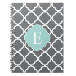 Gray Grey Mint Quatrefoil Monogram Spiral Note Book