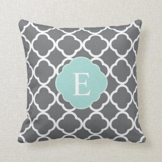 Gray Grey Mint Quatrefoil Monogram Throw Pillow