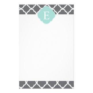 Gray Grey Mint Quatrefoil Monogram Stationery Paper