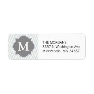 Gray & Grey Modern Chevron Custom Monogram Label