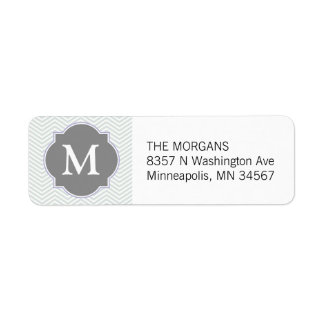 Gray & Grey Modern Chevron Custom Monogram Label