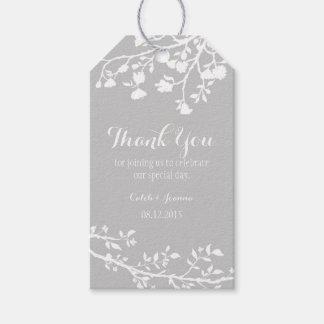 Gray Grey Modern Flower Wedding Thank You Tags
