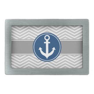 Gray Grey Nautical Anchor Chevron Rectangular Belt Buckle