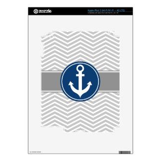 Gray Grey Nautical Anchor Chevron Skin For iPad 3