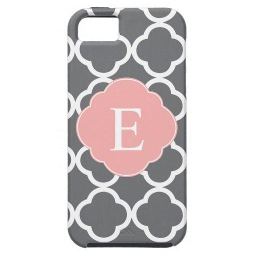 Gray Grey Peach Quatrefoil Monogram iPhone 5 Case
