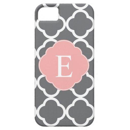 Gray Grey Peach Quatrefoil Monogram iPhone 5 Cover