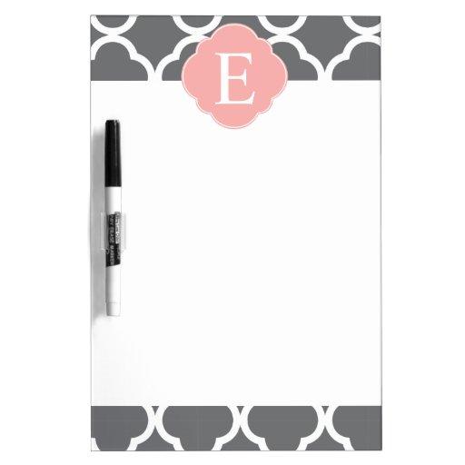 Gray Grey Peach Quatrefoil Monogram Dry-Erase Boards
