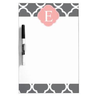 Gray Grey Peach Quatrefoil Monogram Dry-Erase Whiteboard