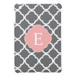 Gray Grey Peach Quatrefoil Monogram iPad Mini Covers