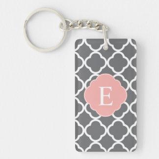 Gray Grey Peach Quatrefoil Monogram Keychain