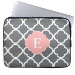 Gray Grey Peach Quatrefoil Monogram Laptop Computer Sleeve