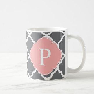 Gray Grey Peach Quatrefoil Monogram Mug
