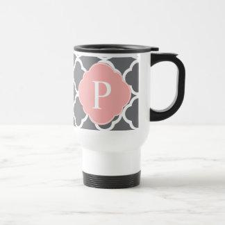 Gray Grey Peach Quatrefoil Monogram 15 Oz Stainless Steel Travel Mug